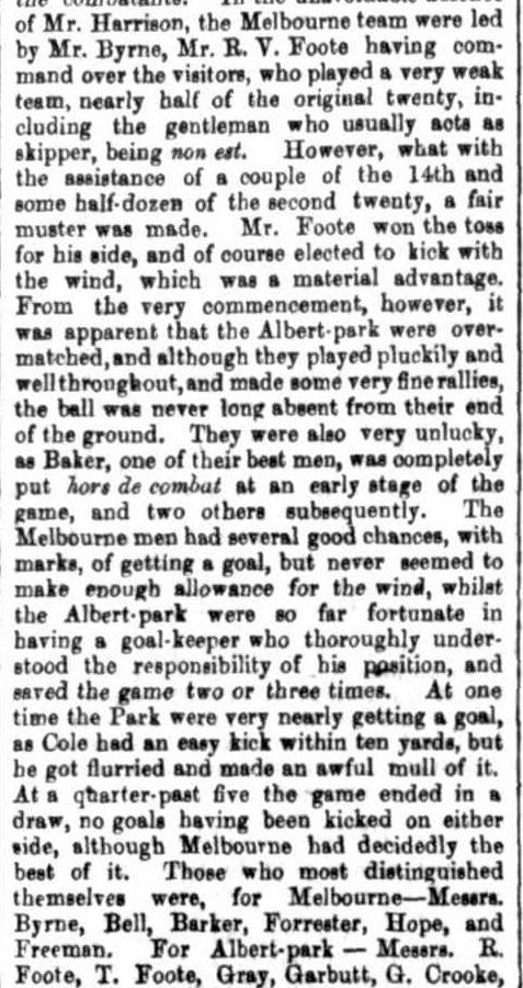 Melbourne v Albert Park (South Melbourne) 1869