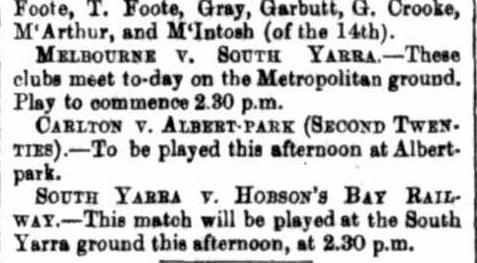Football clubs 1869- Melbourne, Hobson's Bay, Carlton, South Yarra