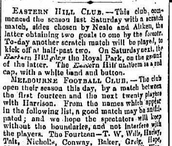 Eastern Hill & Melbourne football clubs 1864