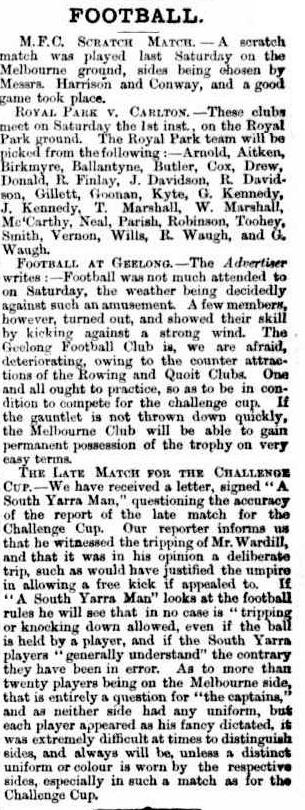 Melbourne, Geelong, Carlton Football clubs 1865