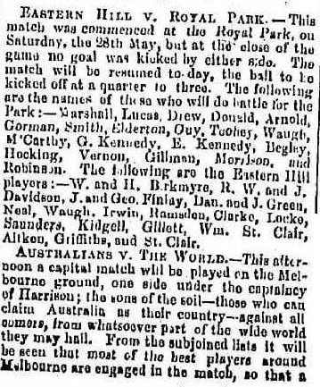 Football- Eastern Hill v Royal Park 1864