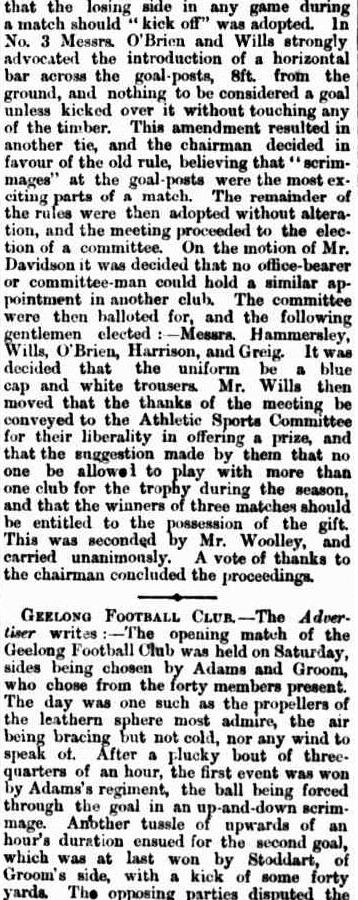 Geelong football club 1865