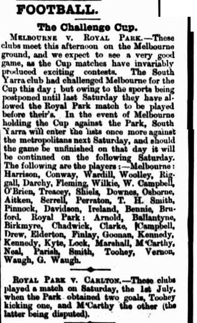 Melbourne v Royal Park, Carlton football club 1865