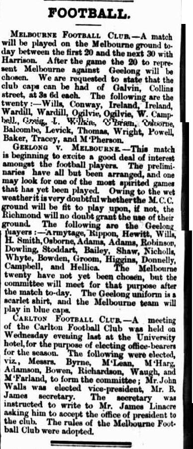Melbourne F.C. Geelong F.C. Carlton football club 1865