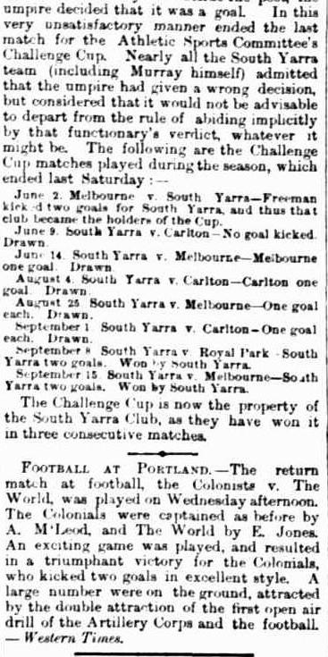 Football- Melbourne, South Yarra, Carlton, Royal Park, Portland Football clubs 1866