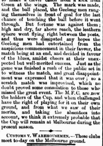Melbourne v Geelong Football challenge cup 1865
