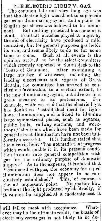 Gas v Electric light 1879