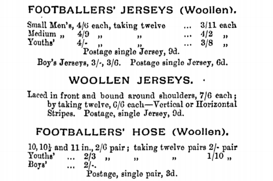 Cricketing & Sports Co. Melbourne Football Clothing price list 1908