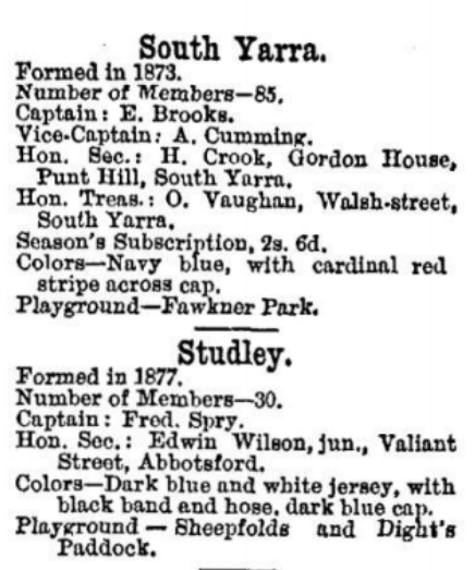 South Yarra & Studley Junior football clubs 1880