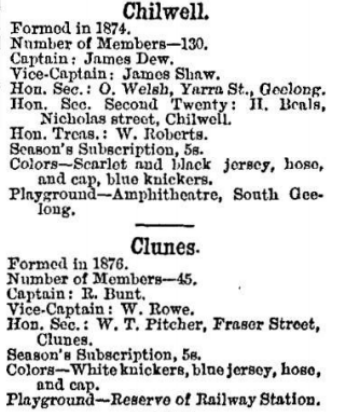 Chilwell & Clunes football clubs 1880
