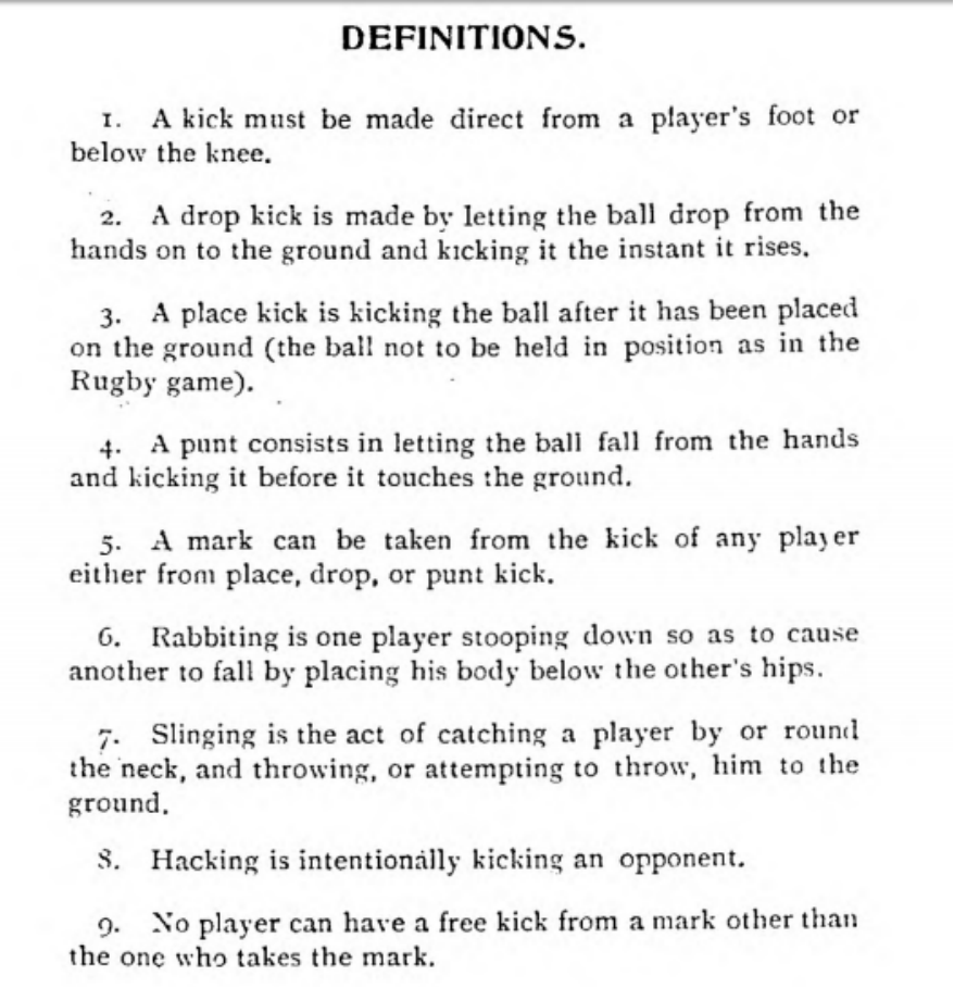 Aussie rules football definitions 1879
