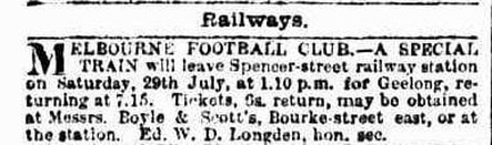 Melbourne Football Club 1882, Special Train to Match in Geelong