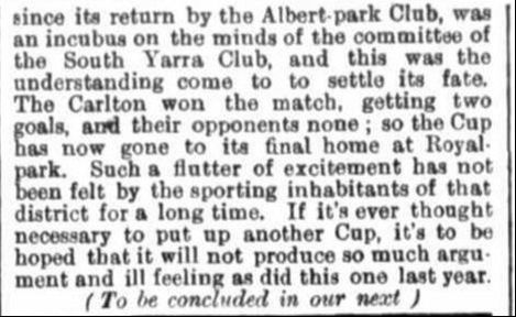 Carlton, Albert Park Football clubs 1871