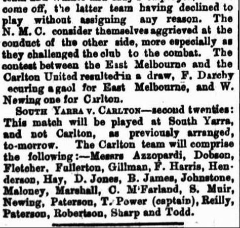 1869 Football Clubs- East Melbourne, Carlton United, South Yarra
