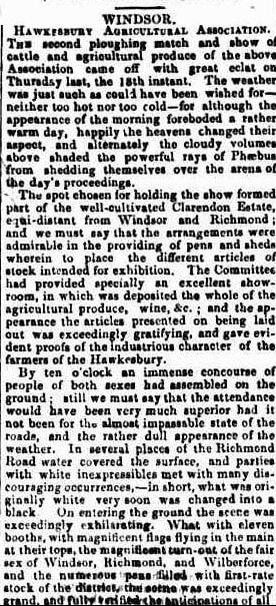 WINDSOR BATHURST AGRICULTURAL SHOW & PLOUGHING MATCH 1847