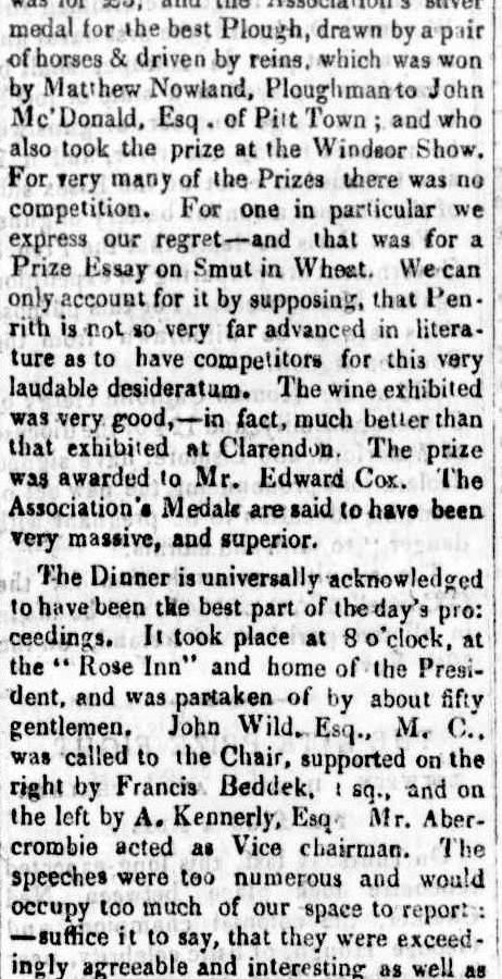 PENRITH & NEPEAN AGRICULTURAL SOCIETY 1846