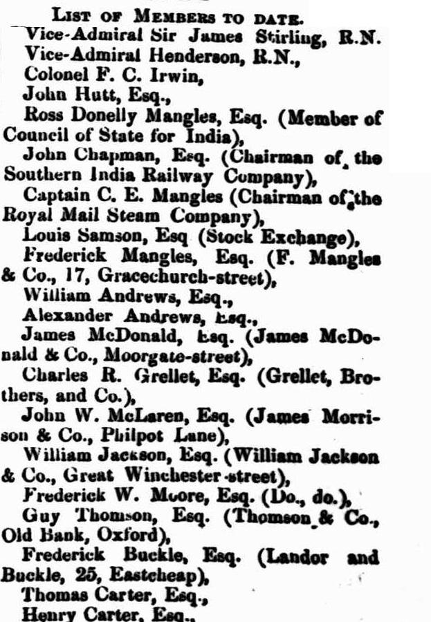 The W.A. Association of London members 1860