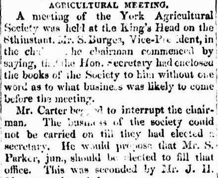 York Agricultural Society 1852