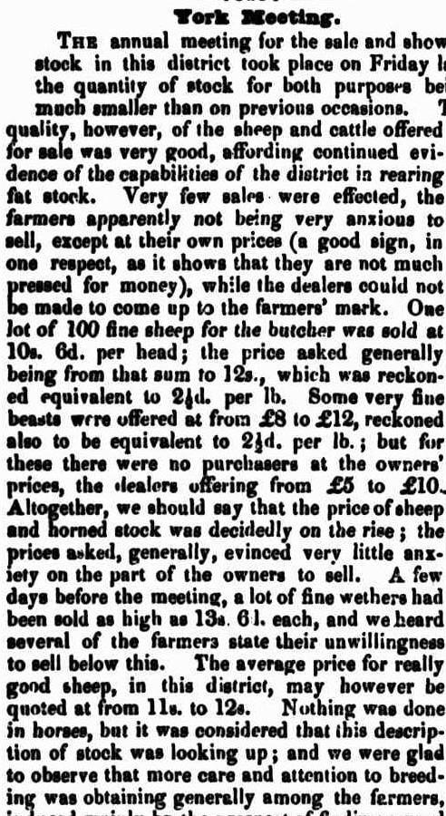 YORK SHOW OF STOCK W.A. 1845