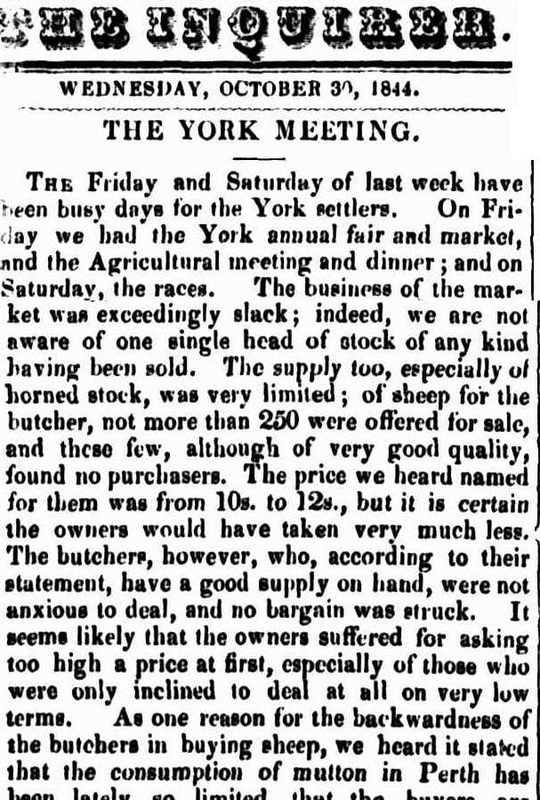 YORK AGRICULTURAL SOCIETY 1844