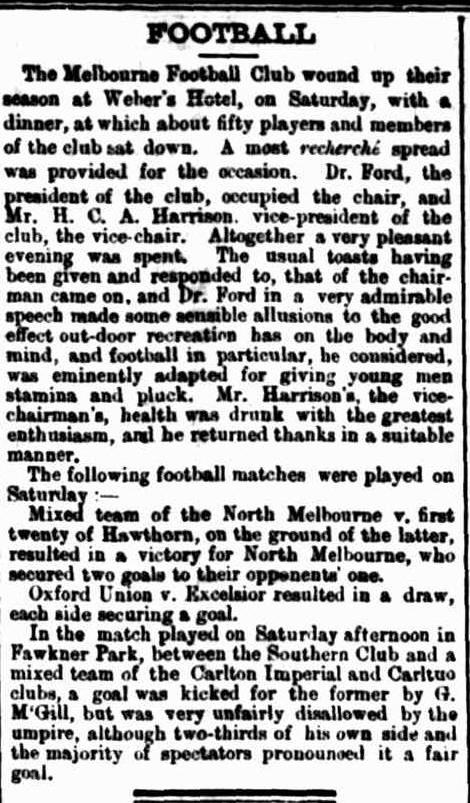 Melbourne, North Melbourne, Hawthorn Football clubs 1873