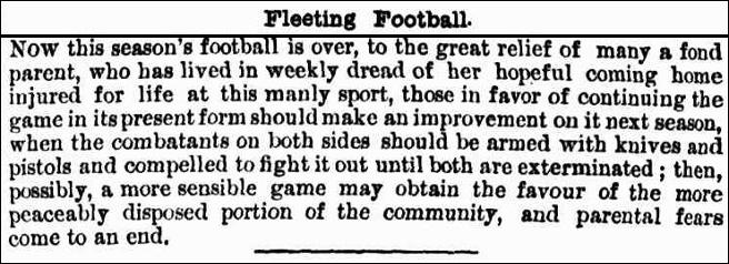 What parents might think about Aussie football 1873