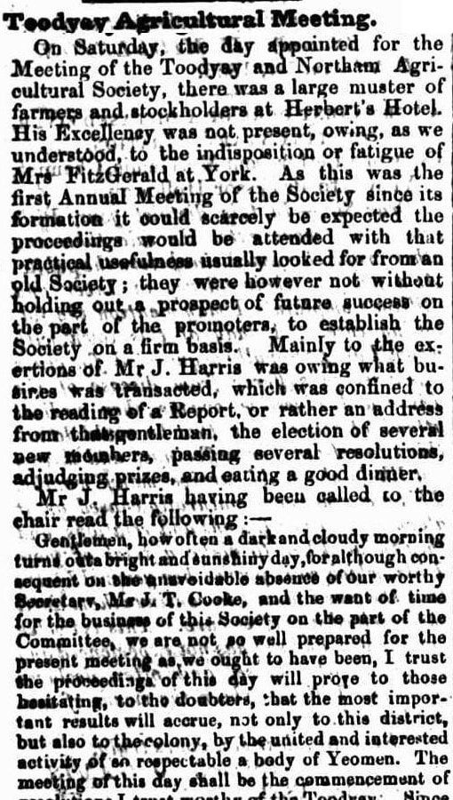 Toodyay Agricultural Meeting. W.A. 1854