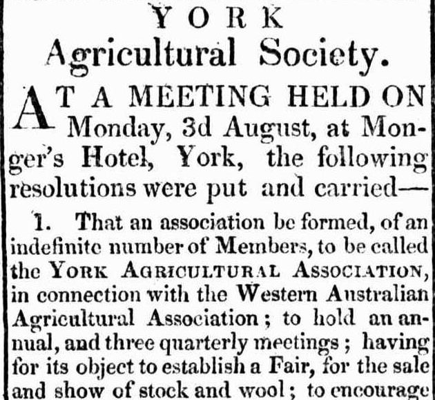 YORK AGRICULTURAL SOCIETY 1840