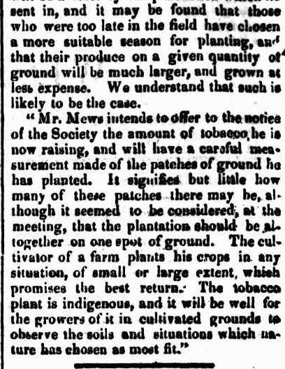 AGRICULTURAL SOCIETY W.A. Tobacco prize 1844