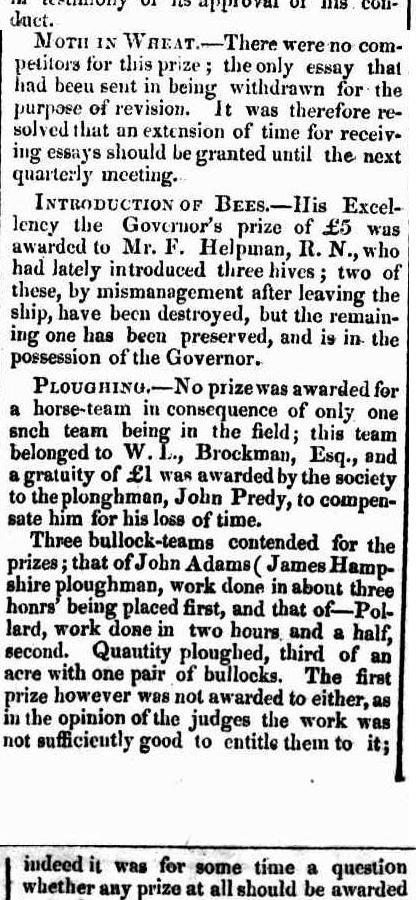 PLOUGHING MATCH RESULTS W.A. 1841