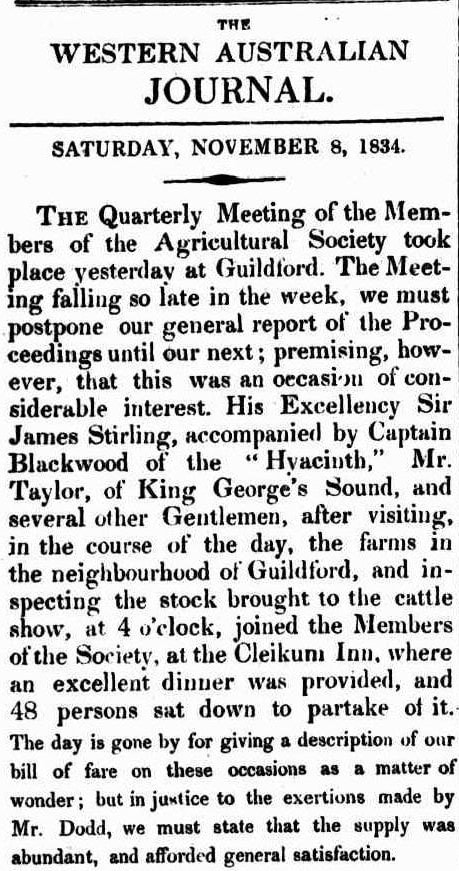 FIRST CATTLE SHOW ​MEETING & DINNER​ W.A. Nov 8 1834