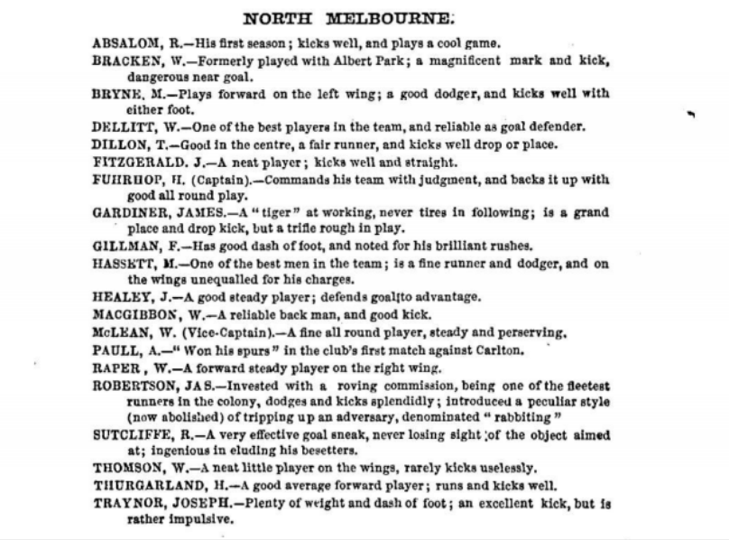 North Melbourne Football players 1875