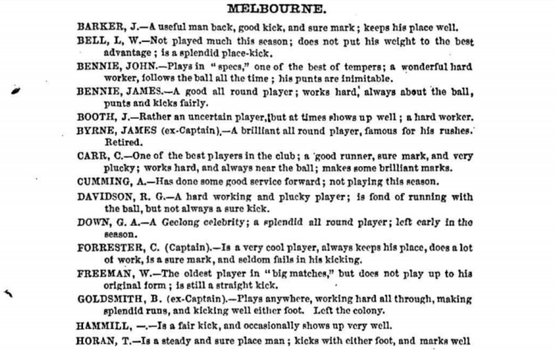 Melbourne Football players 1875