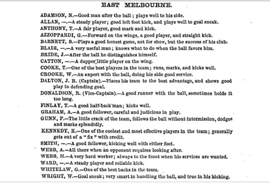 East Melbourne Football players 1875