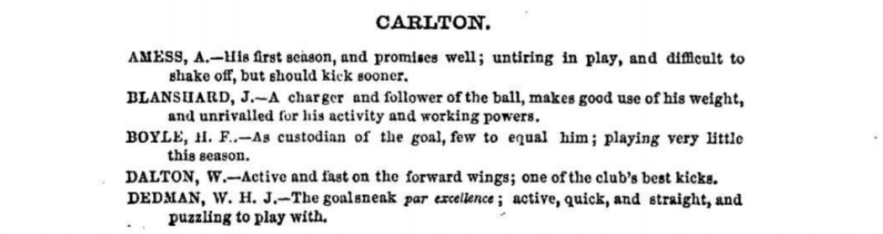 Carlton Football players 1875