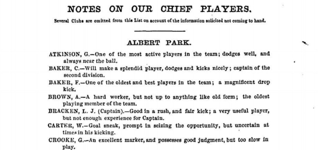 Albert Park Football players 1875