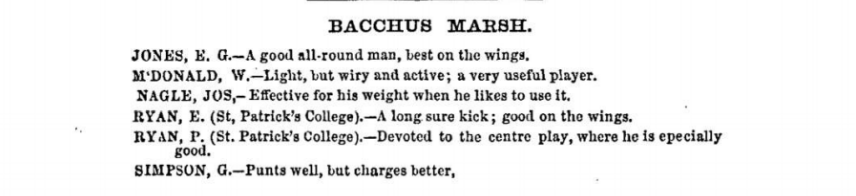 Bacchus Marsh Football players 1875