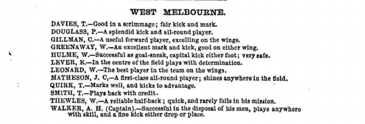 West Melbourne Football players 1875