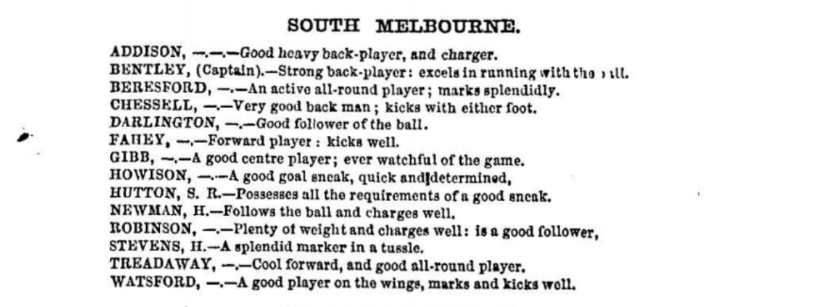 South Melbourne Football players 1875