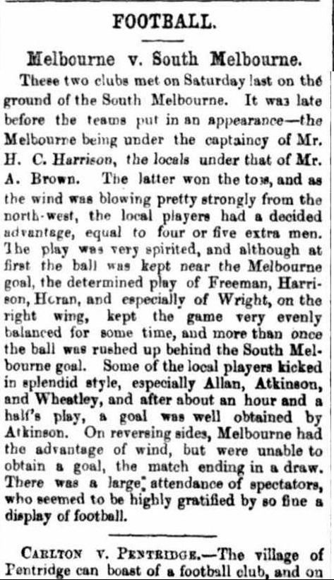 Football 1867- Melbourne v South Melbourne