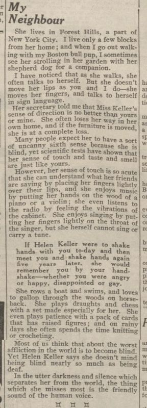 HELEN KELLER  'My Neighbour'