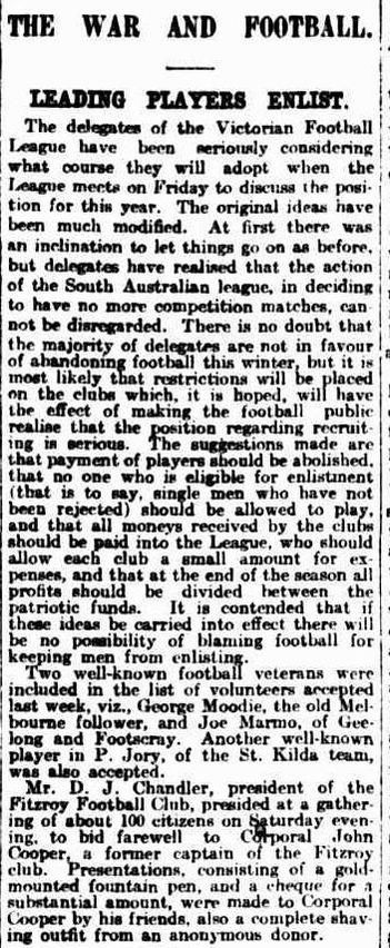 VFL payments to players during WW1