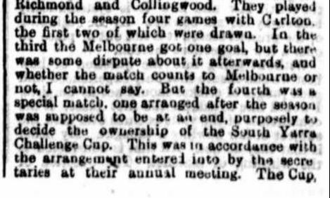 Melbourne, Sth Yarra Football clubs 1871