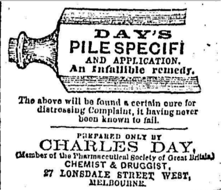 Charles Day Medicine for Piles 1864