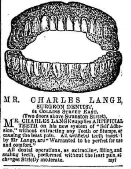 Charles Lange, Surgeon Dentist 1864
