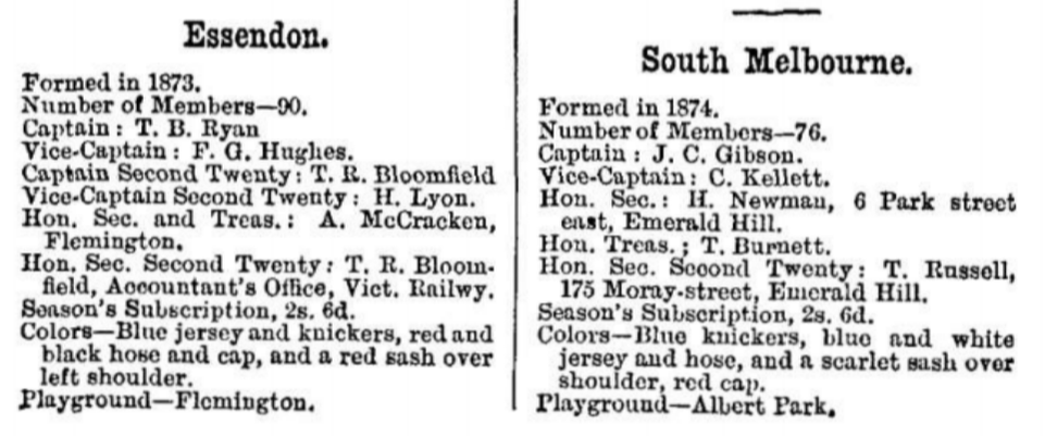 Essendon & South Melbourne Football Clubs 1880