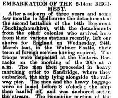 Embarkation of the 14th Regiment 1870