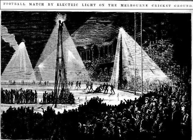 Melbourne Football by electric light 1879
