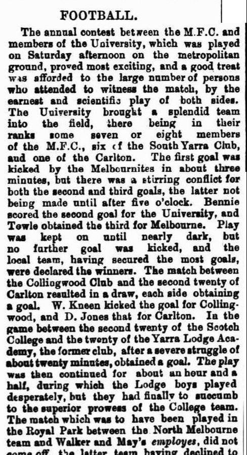 1869 Football clubs, Carlton, Collingwood, Melbourne, South Yarra, University