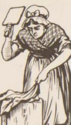 Woman beating the washing with a Battledore.